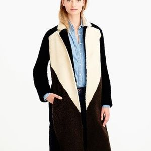 J CREW Collection Shearling Colorblock Coat